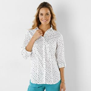 Blancheporte Košile s potiskem puntíků puntíky bílá/nám. modrá 54