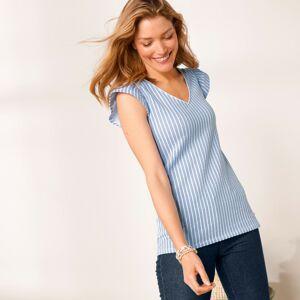 Blancheporte Pruhované tričko indigo/bílá 54
