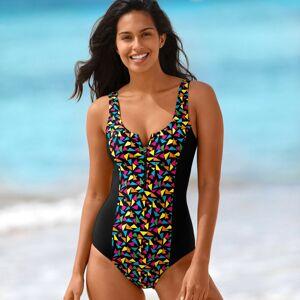 Blancheporte Jednodílné plavky se zipem a potiskem vícebarevná 54