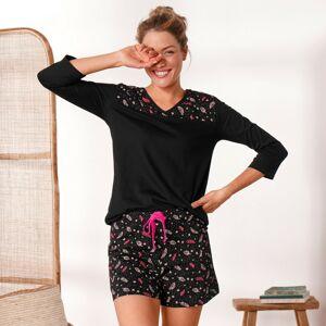 Blancheporte Pyžamové tričko se 3/4 rukávy a středovým potiskem černá 42/44