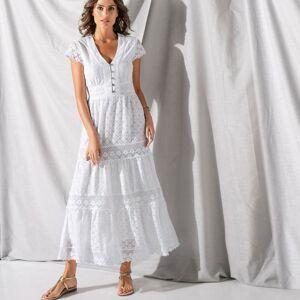 Blancheporte Dlouhé šaty s krajkou a macramé bílá 48