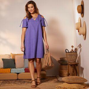 Blancheporte Šaty ze směsi bavlna-len levandulová 58