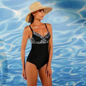 Blancheporte Jednodílné plavky s tropickým vzorem, s kosticemi černá, koš.C 48