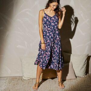 Blancheporte Šaty s úzkými ramínky, potiskem a krajkovým zakončením nám. modrá/korálová 48