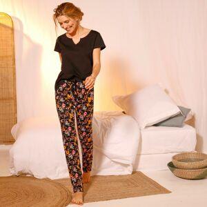 Blancheporte Pyžamové kalhoty s potiskem květin černá/korálová 50