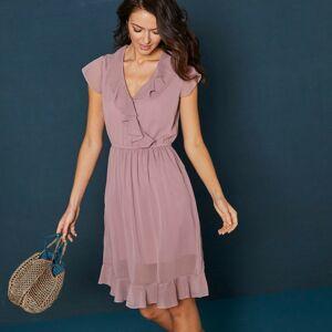 Blancheporte Krátké jednobarevné šaty s volány a krátkými rukávy růžová pudrová 38