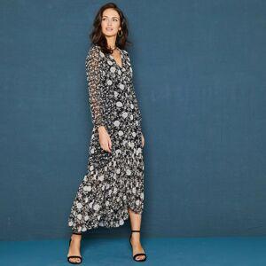 Blancheporte Volánové šaty s potiskem květin a dlouhými rukávy černá/režná 48