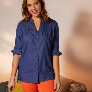 Blancheporte Džínová košile, zvlněný výstřih modrá 54