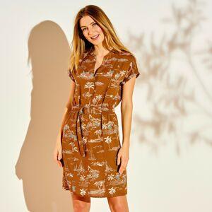 Blancheporte Šaty s potiskem a žabičkovaným pasem karamelová/bílá 50