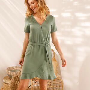 Blancheporte Volánové jednobarevné šaty s efektem překřížení khaki 50