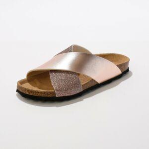 Blancheporte Pantofle s překříženými pásky béžovorůžová 39