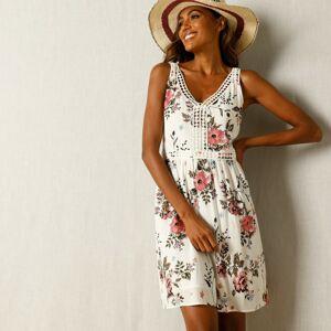 Blancheporte Šaty s potiskem květin a macramé režná/růžová 38