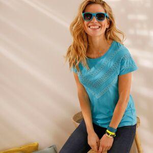 Blancheporte Jednobarevné tričko s macramé tyrkysová 50