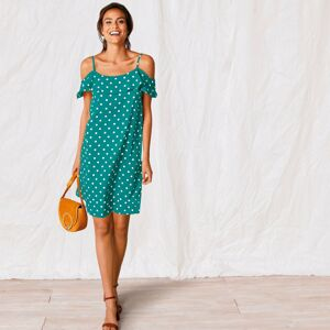 Blancheporte Šaty s volánovým výstřihem a potiskem smaragdová 52