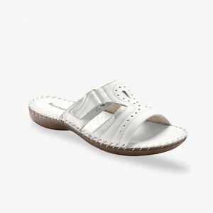 Blancheporte Pohodlné pantofle, kůže, bílé bílá 39
