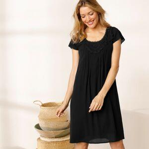 Blancheporte Jednobarevné šaty s macramé černá 52