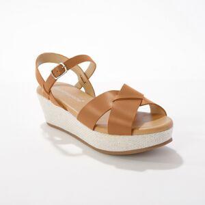 Blancheporte Kožené sandály na platformě, karamelové karamelová 38