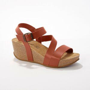 Blancheporte Kožené sandály na klínku, přírodní přírodní 40