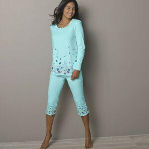 Blancheporte 3/4 pyžamové kalhoty s potiskem květin bledě modrá 42/44