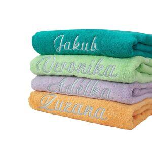 Blancheporte Froté sada zn. Colombine s výšivkou na přání (12 znaků včetně mezer) zelená mořská ručník 50 x 100 cm + žínka
