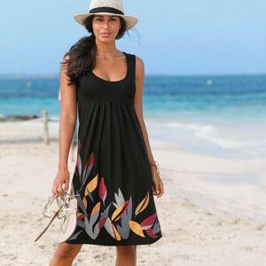 Blancheporte Šaty se středovým potiskem a kulatým výstřihem černá/korálová 50
