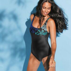 Blancheporte Jednodílné plavky Argos, vyjímatelné vycpávky černá/modrá 48