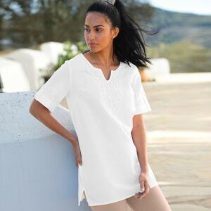 Blancheporte Jednobarevné macramé tunika bílá 46