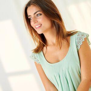 Blancheporte Šaty z bavlny a macramé zelenkavá 40