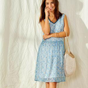 Blancheporte Krátké šaty s potiskem a zlatým vláknem modrá/bílá 36