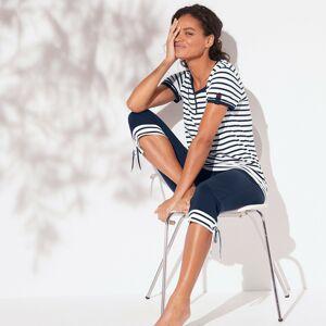 Blancheporte Pyžamo s krátkými rukávy a 3/4 kalhotami nám.modrá/bílá 50