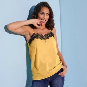 Blancheporte Top s krajkou a úzkými ramínky žlutá/černá 48