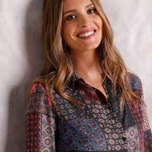 Blancheporte Košile s patchwork vzorem černá/tomatová 40