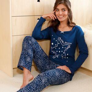 Blancheporte Pyžamo s potiskem hvězdiček, žerzej a flanel námořnická modrá 46/48