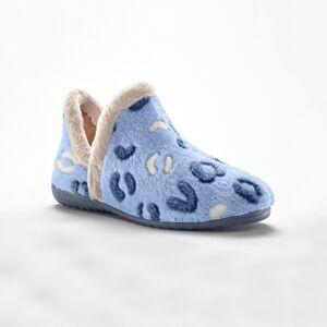 Blancheporte Velurová vyšší obuv, plyšový vnitřek modrá 37