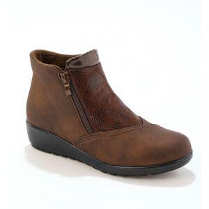Blancheporte Kotníkové boty ze 2 materiálů, s fleecovou podšívkou, kaštanové kaštanová 36