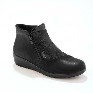 Blancheporte Kotníkové boty s efektem 2 materiálů, s fleecovou podšívkou, černé černá 38