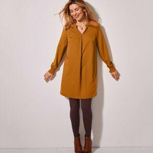 Blancheporte Jednobarevná tunika s krajkou a dlouhými rukávy karamelová 50