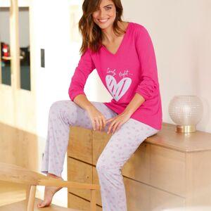 Blancheporte Pyžamo s dlouhými rukávy a potiskem srdcí fuchsie 54
