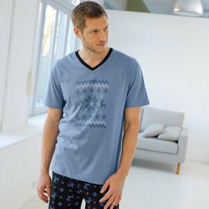 Blancheporte Pyžamové tričko s potiskem a krátkými rukávy modrá 137/146 (4XL)