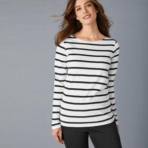 Blancheporte Pruhované tričko z bio bavlny, eco-friendly bílá/černá 46/48