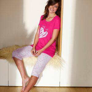 Blancheporte Pyžamo s korzárskými kalhotami a potiskem srdcí fuchsie 52