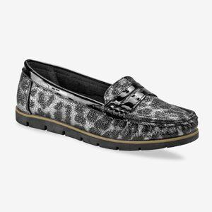 Blancheporte Třpytivé mokasíny, leopardí šedo/ černé šedá/černá 40