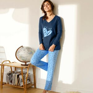 Blancheporte Pyžamo s dlouhými rukávy a potiskem srdcí námořnická modrá 54
