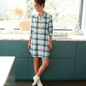Blancheporte Flanelová noční košile s límečkem a potiskem kostky jedlová zelená 34/36