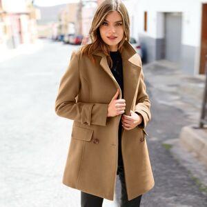 Blancheporte Jednobarevný kabát ve vlněném vzhledu karamelová 44
