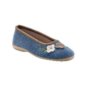 Blancheporte Plstěné baleríny s květinovou aplikací modrá indigo 36