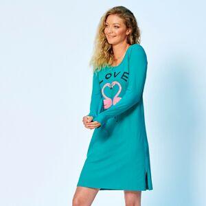Blancheporte Krátká noční košile, motiv lásky, dlouhé rukávy smaragdová 38/40