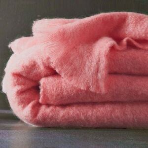 Blancheporte Mohérová vlněná deka Angora růžová 130X180cm