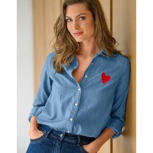 """Blancheporte Džínová košile s nášivkou """"srdíčka"""" sepraná modrá 52"""