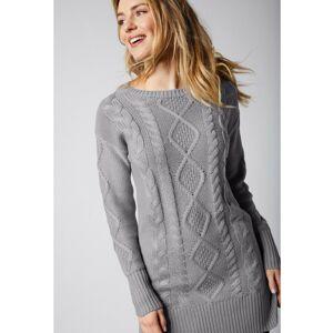 Blancheporte Tunikový pulovr s copánkovým vzorem šedá 34/36